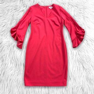 Calvin Klein Bell Sleeve Ruffle Scuba Sheath Dress